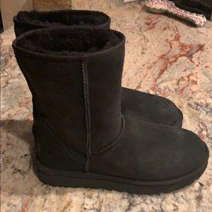 "Black sued ugg boots   9"" tall.  Worn a few times"